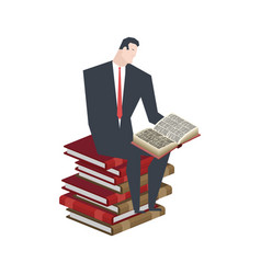 businessman sitting on stack books boss is vector image