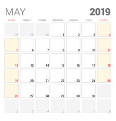 calendar planner for may 2019 week starts on vector image
