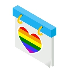 Calendar with rainbow heart isometric 3d icon vector