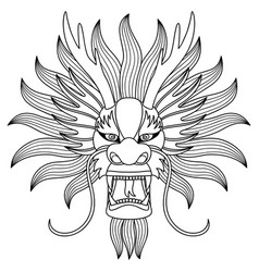 Chinese dragon head tattoo vector