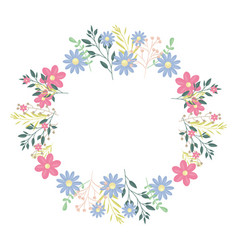 Circular crown with flowers and leafs decoration vector