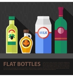 Color flat bottle set vector