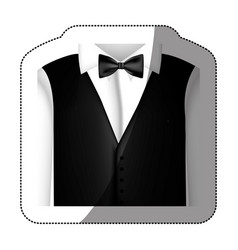 color sticker shirt with bow tie and waistcoat vector image