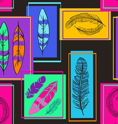 Colorful seamless pattern of bird feathers vector