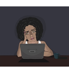 Concerned young black woman and computer vector