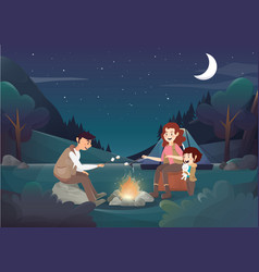 Cozy family camping in the night vector