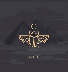 Drawing icon egyptian scarab beetle vector