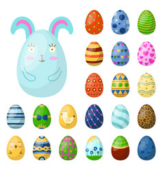 easter eggs painted with spring pattern multi vector image
