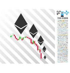 Ethereum deflation chart flat icon with bonus vector