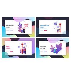 Express blood test landing page template set tiny vector