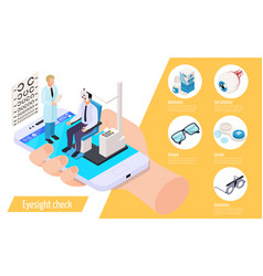 eyesight check isometric composition vector image
