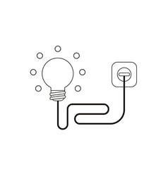 Flat design style concept of light bulb with wire vector