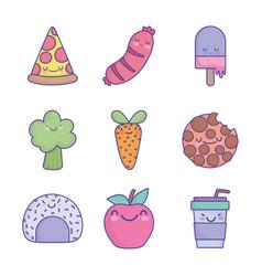 food cute cartoon character menu restaurant diet vector image