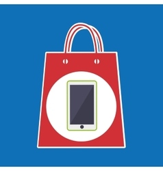 hand holds bag gift phone design vector image