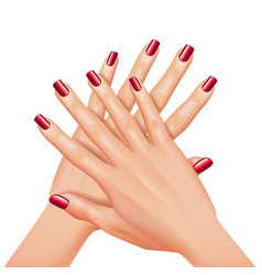 hands with red nails manicure isolated on white vector image
