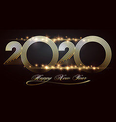 happy new year 2020 design template on black vector image