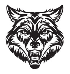 head mascot wolf isolated on white vector image