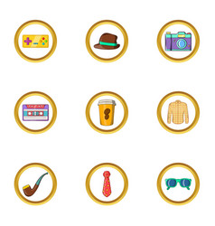 Hipster life icon set cartoon style vector