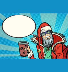 hipster santa claus with coffee says vector image