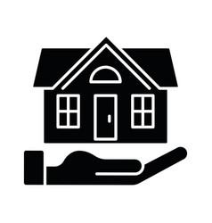 Home insurance black glyph icon vector