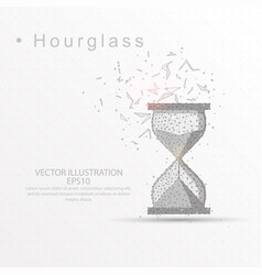 hourglass digitally drawn low poly wire frame on vector image
