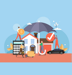 house and car under umbrella flat vector image