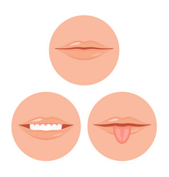 human mouth with tooth and tongue vector image