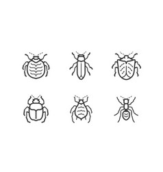 Insects icon set animals vector
