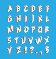 isometric alphabet techno font with block letters vector image
