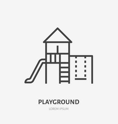 kids playground flat line icon thin sign vector image