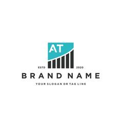 Letter at chart financial logo design vector