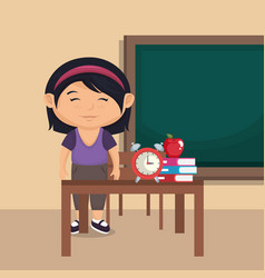 Little schoolgirl in the classroom vector