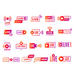 Live stream badges video broadcasting shows vector