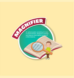 magnifier glass tool description little boy vector image