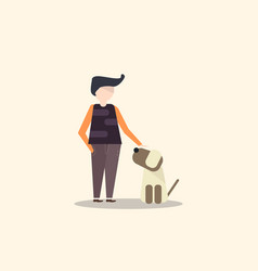 Man and dog in flat design vector