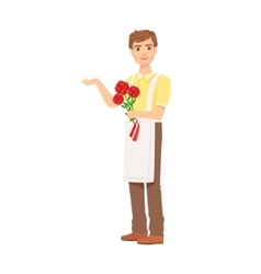 Man Florist In Apron Working As Flower Shop vector