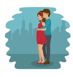 Man hugging woman design vector