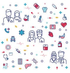 Medicinal concept design with hospital staff vector