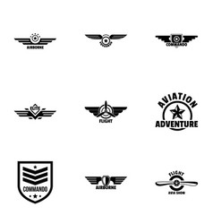 Military label icons set simple style vector