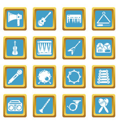 Musical instruments icons set sapphirine square vector
