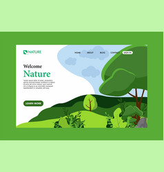 Nature landing page flat design vector