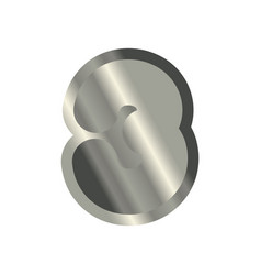 Number 3 steel metal font three silver alphabet vector