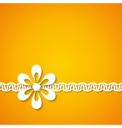 orange background with a floral border vector image