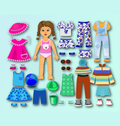 paper cardboard doll with clothes for children vector image