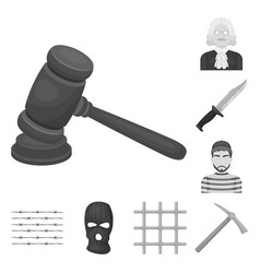 prison and the criminalmonochrome icons in set vector image
