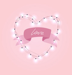 realistic 3d electric bulb in heart shaped frame vector image