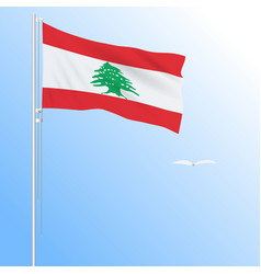 Realistic flag of lebanon fluttering in the wind vector