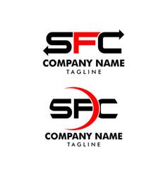 set initial letter sfc logo template design vector image