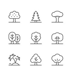 set line icons tree vector image