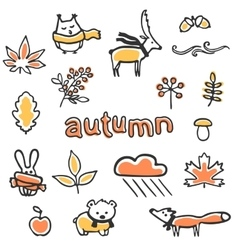 Set of autumn animals and vector image